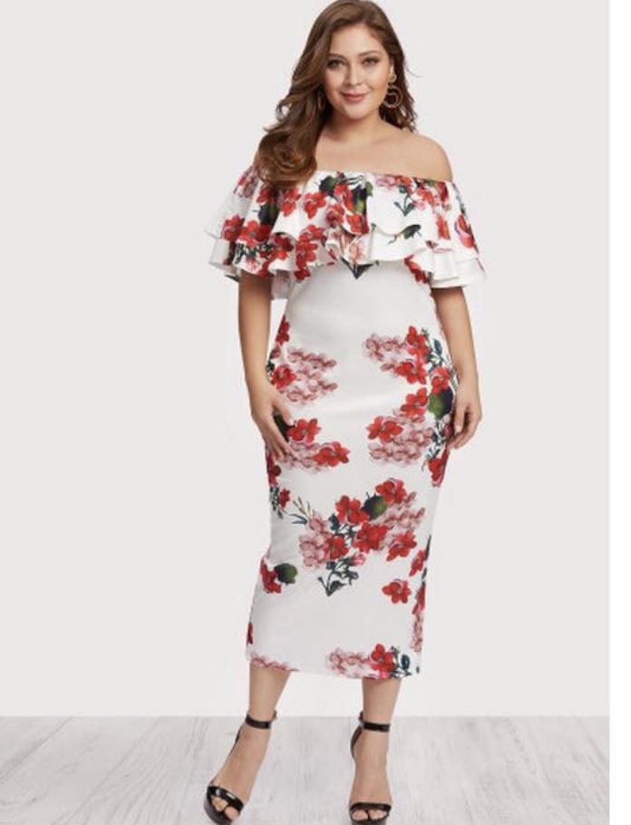 b216aa889051d Off Shoulder Floral Dress Plus Size – Taylor